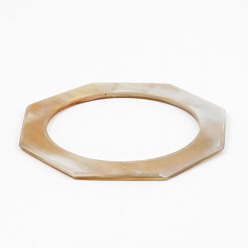 Natural Horn Octogon Statement Bangle Bracelet