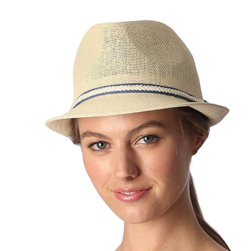 Cream Trim Straw Panama Hat