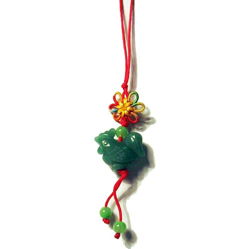 APPLE AMBER GREEN JADE ROOSTER SILK CORD CHARM PENDANT