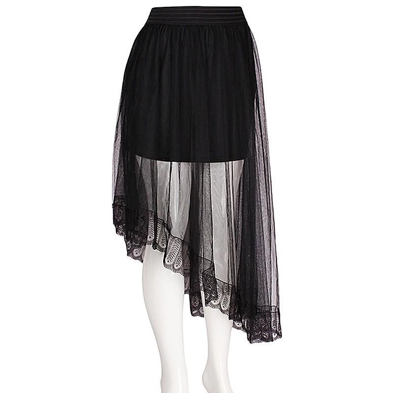 Designer Inspired Oblique Tiered Layer Black Tulle Mesh Skirt