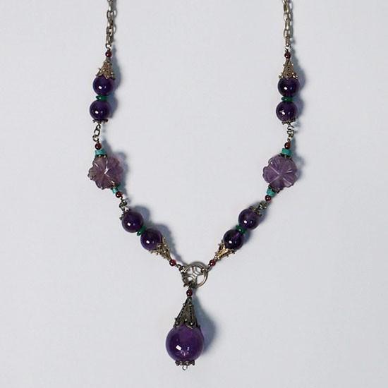 Regal Tibetan Amethyst Bead Silver Necklace
