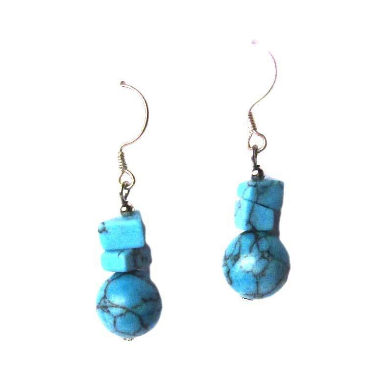 ATTRACTIVE TURQUOISE DANGLING DROP SILVER EARRINGS