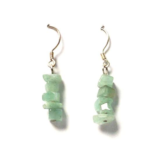 Green Crystal Dangling Silver Earring