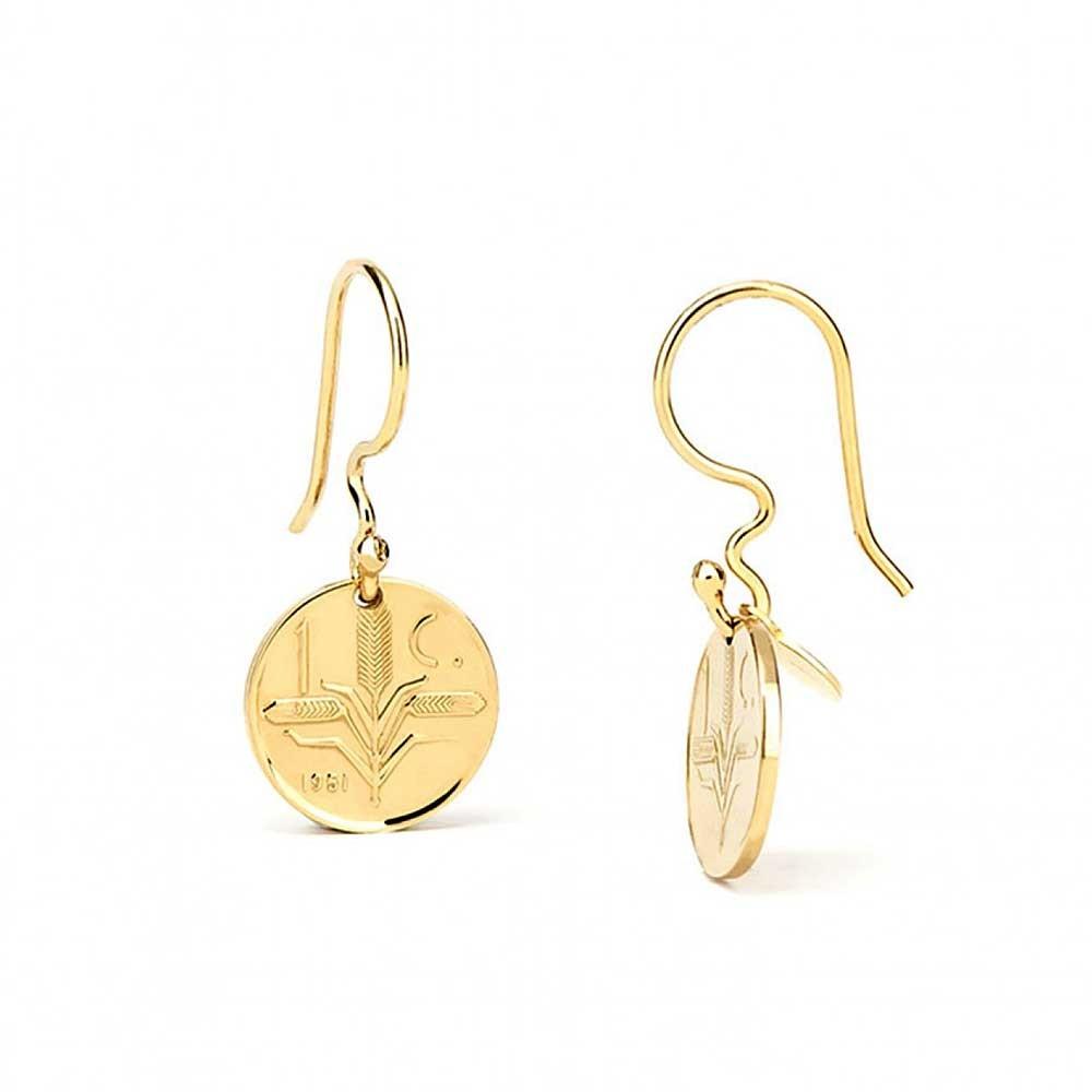 Lustrous  22k Gold Coin Dangle Earrings