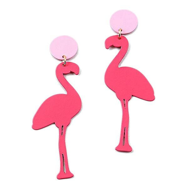 CHIC PINK FLAMINGO PINK DANGLE STATEMENT EARRINGS