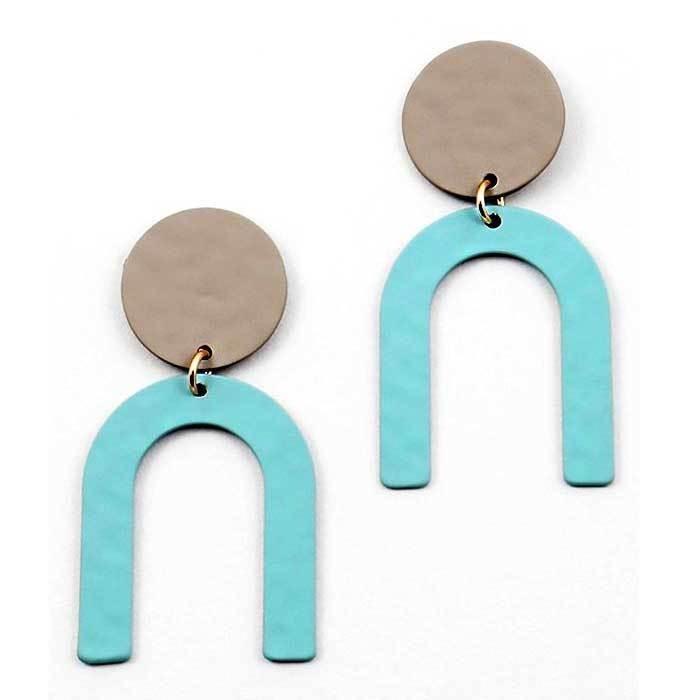 Chic Abstract Bauhaus Grey Light Blue Geometric Statement Earrings