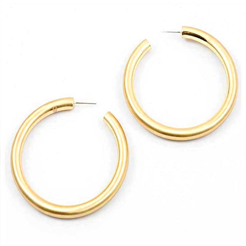 STYLISH MODERN GOLD THICK LARGE  HOOP EARRINGS