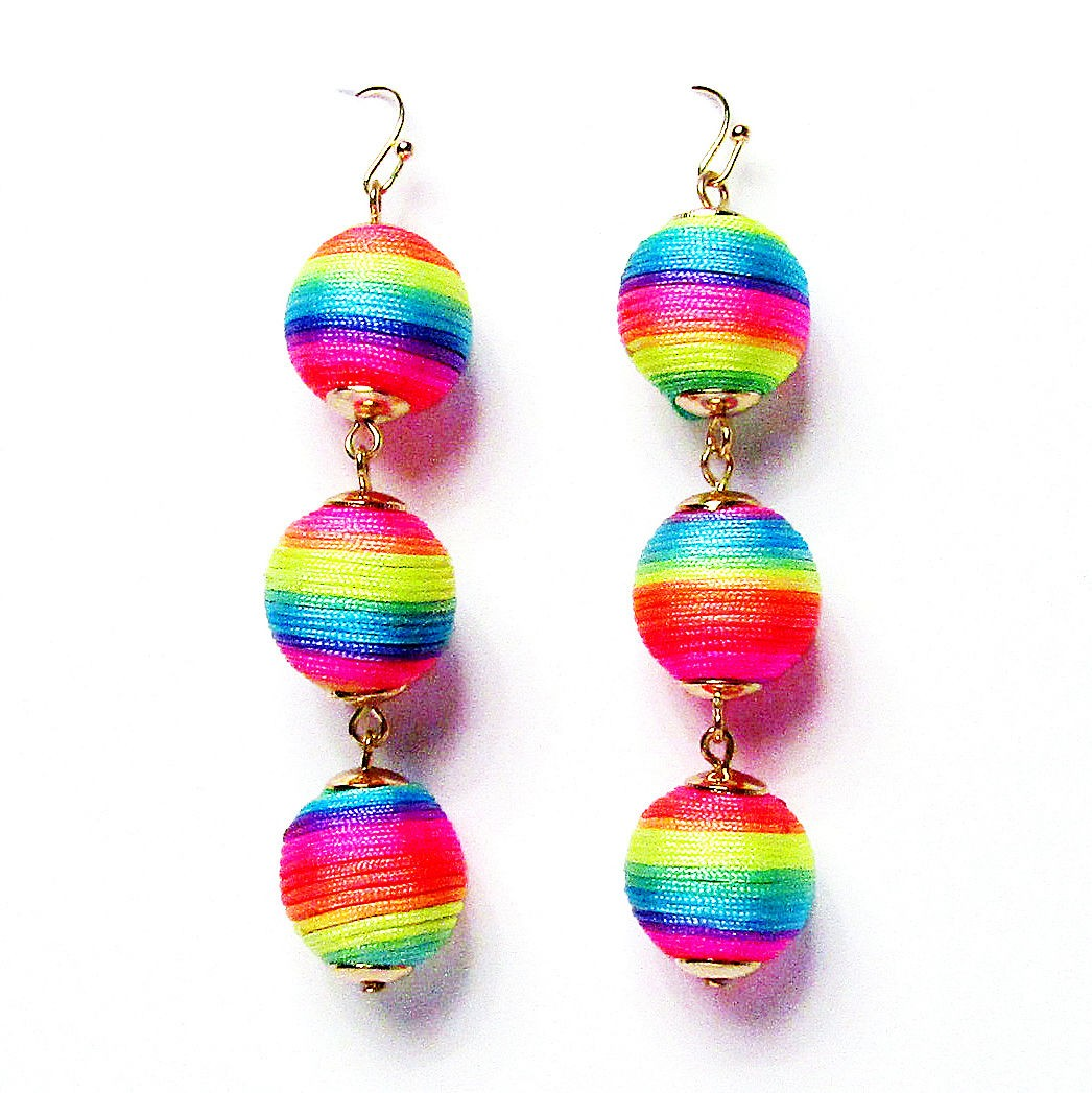 3-Tiers of Rainbow Sheen Disco Ball Drop Earrings