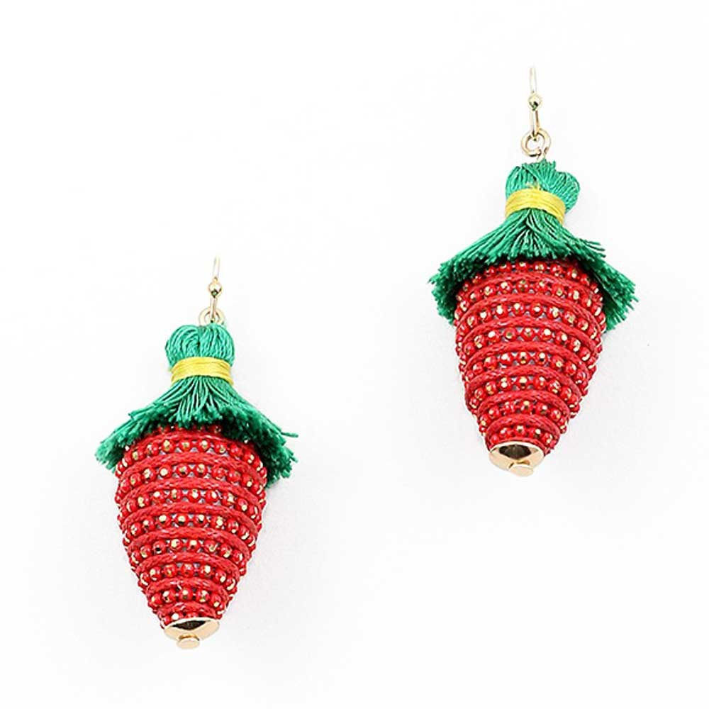 Whimisical Strawberry Tassel Drop Earring