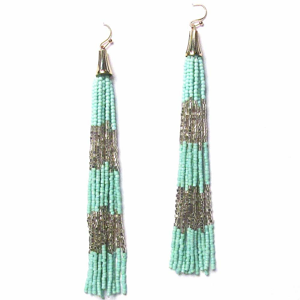 Mint Silver Long Bead Tassel Statement Earrings