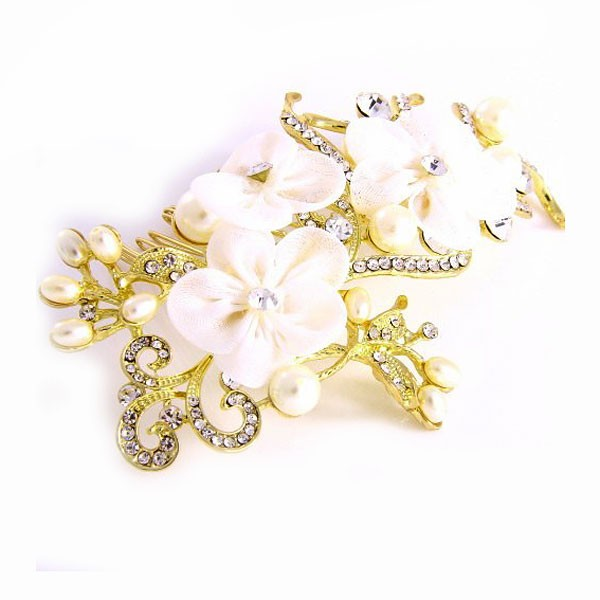 Dazzling White Floral Pearl Rhinestone Hair Comb