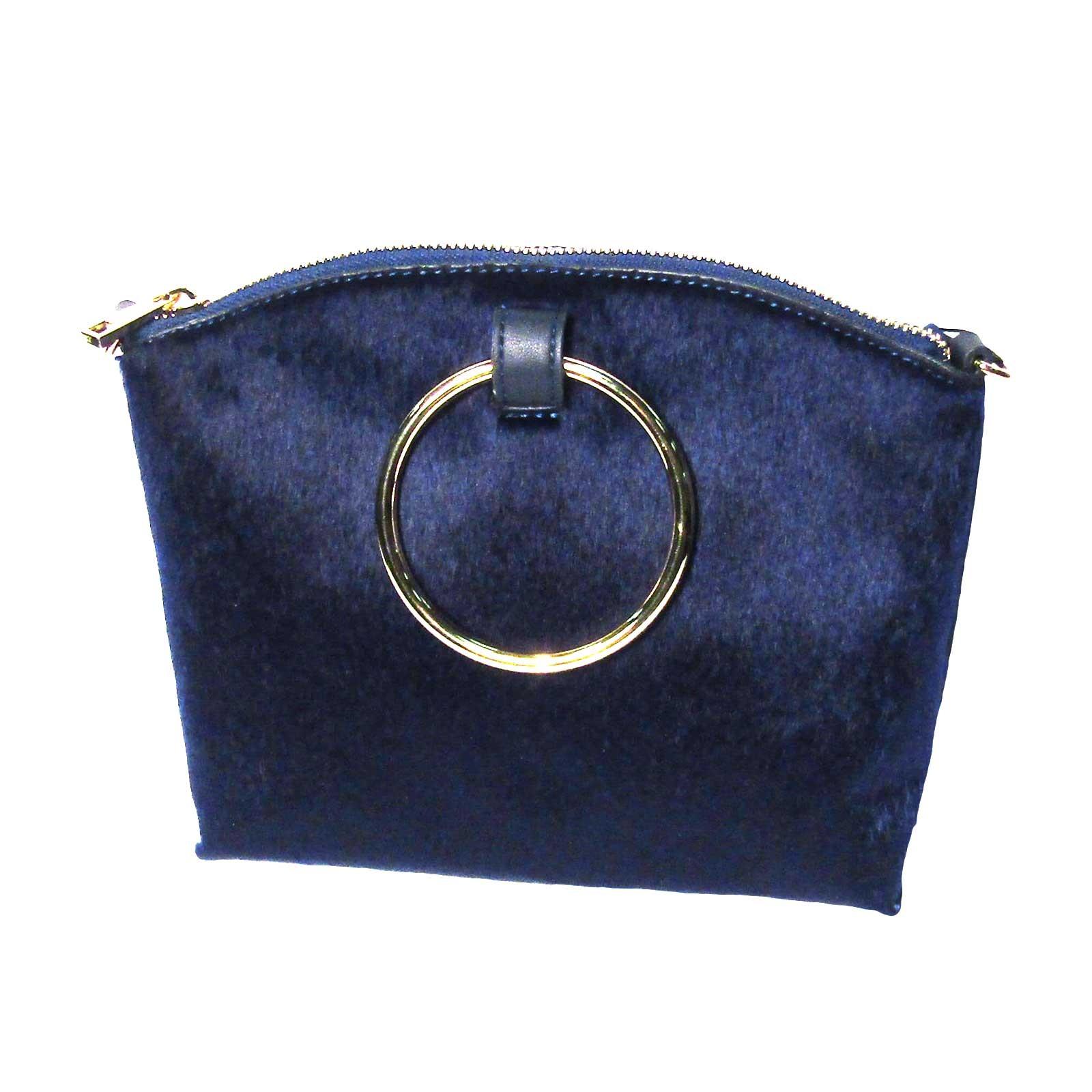 Glamorous Blue Calf Hair Bracelet Ring Handle Tote Handbag