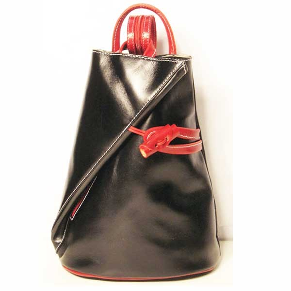 Made In Italy Black Red Genuine Saddle Backpack