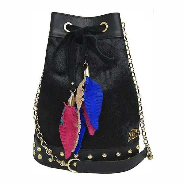 Handcrafted Black Calf Hair Drawstring Bucket Tassel Shoulder Bag