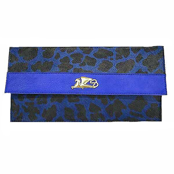 Griffo Handcrafted Black Bird Animal Print On Blue Calf Hair Clutch