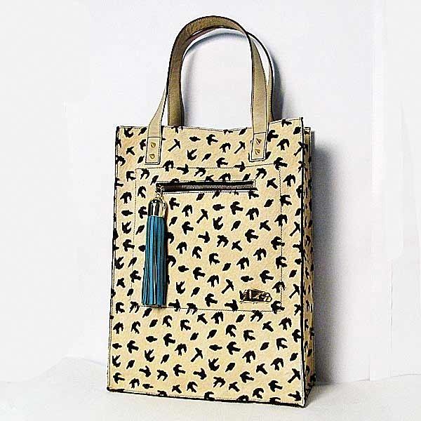 Handcrafted Griffo Black Bird On Beige Calf Hair Leather Tote Bag