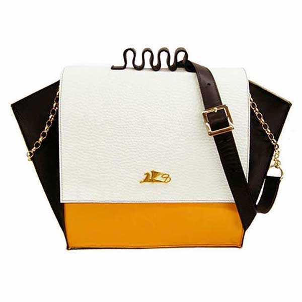 Wing Handcrafted Griffo Orange & White Color Block Carry All Handbag