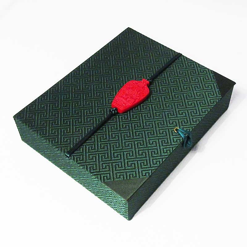 Vintage Green Silk Brocade Scholarly Cinnabar Vase Pendant Box