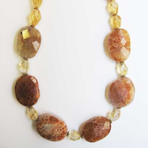 Lustrous Fire Agate & Citrine Nugget Necklace