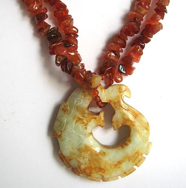 Carnelian Antique Jade Kui Dragon Pendant Necklace