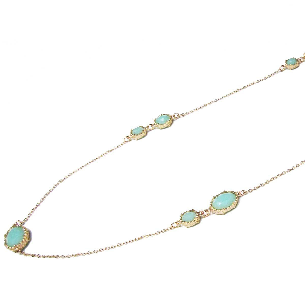 Stylish Multi Faceted Oval sea Green Long Chain Link Necklace