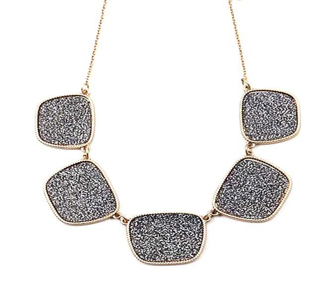 Dazzling Pewter Black Crystal Pendant Link Statement Necklace