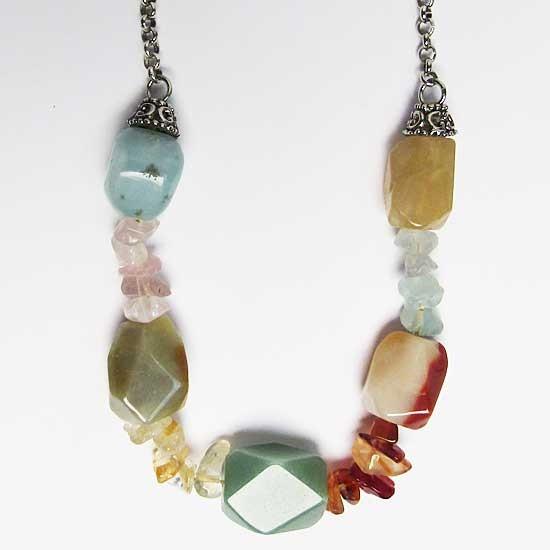 Color Quartz Gem Stones Chips  Silver Chain Necklace