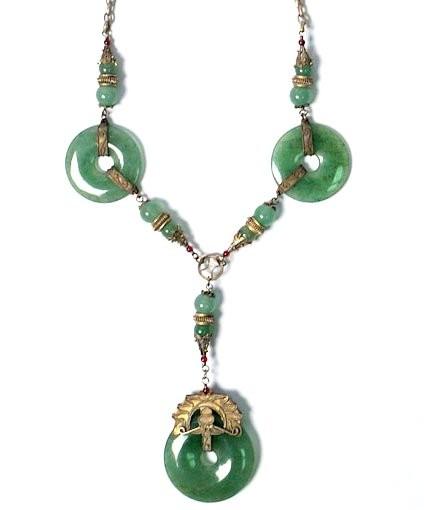 Tibetan Apple Green Jade Disk Silver Dangling Necklace