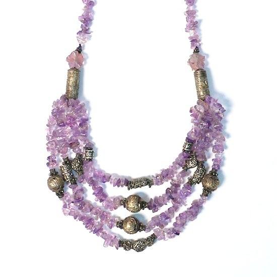Multi Strand Amethyst Beads Tibetan Silver Necklace