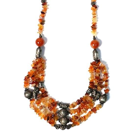 Multi Strand Carnelian Beads Tibetan Silver Necklace