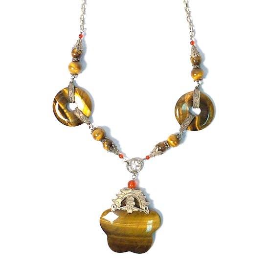 Tigereye Disk Dangling Silver Necklace