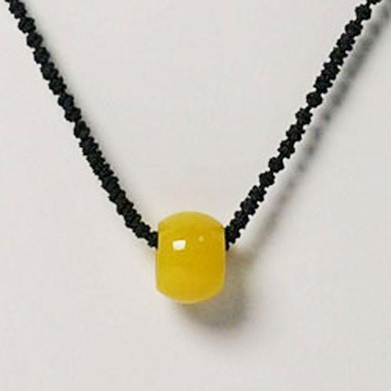 Necklace Choker Yellow Jade Ring Silk Cord