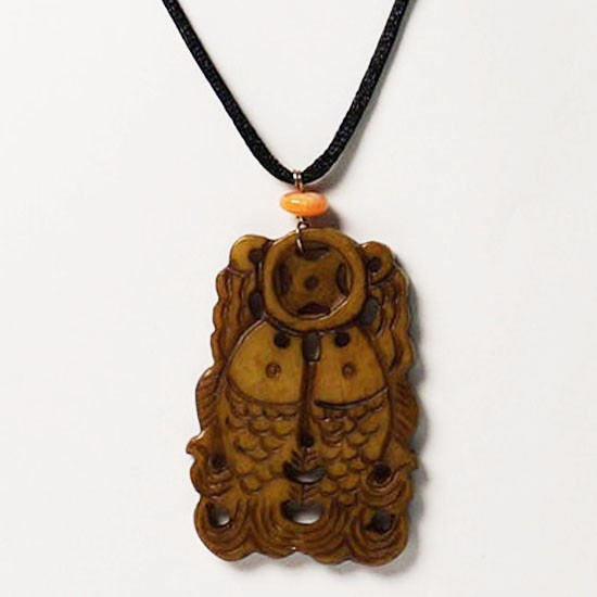 "Amber Jade ""Double Fish"" Pendant Necklace"