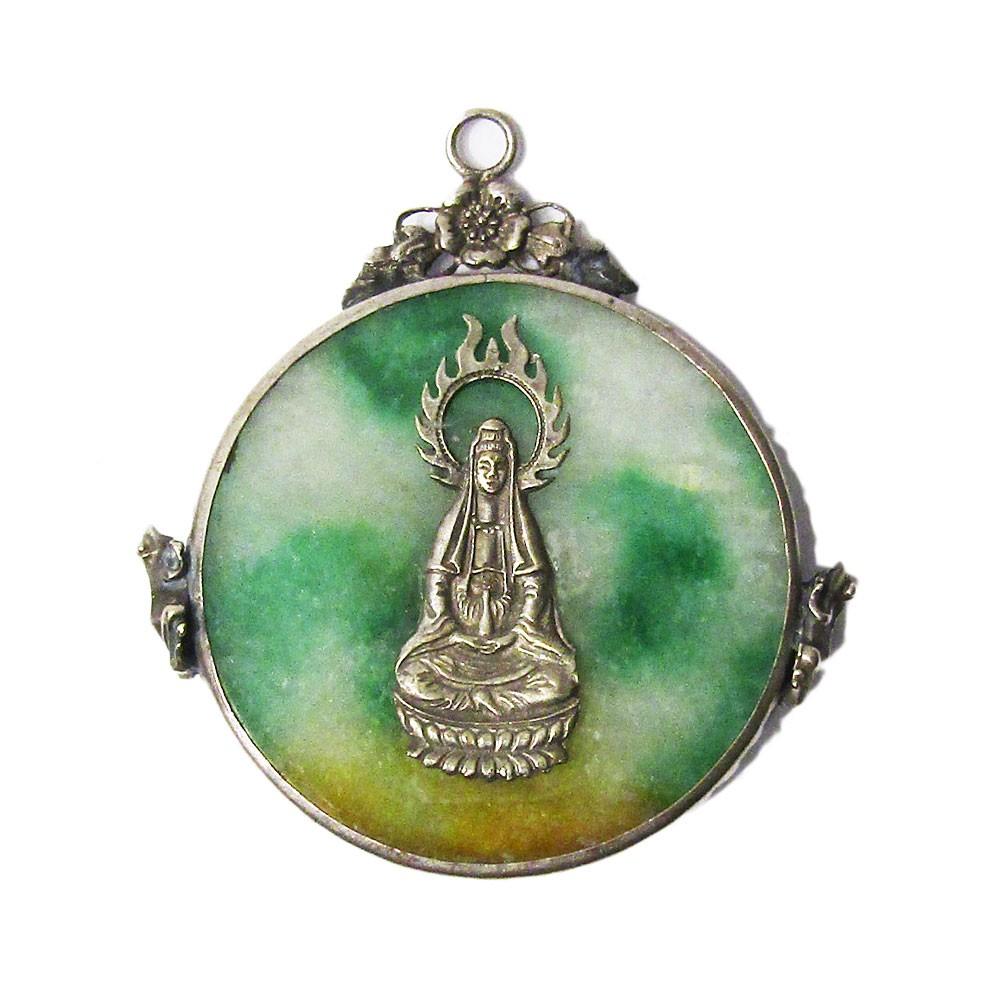 Dragon & Lady Of Goddess Green Jade Silver Pendant