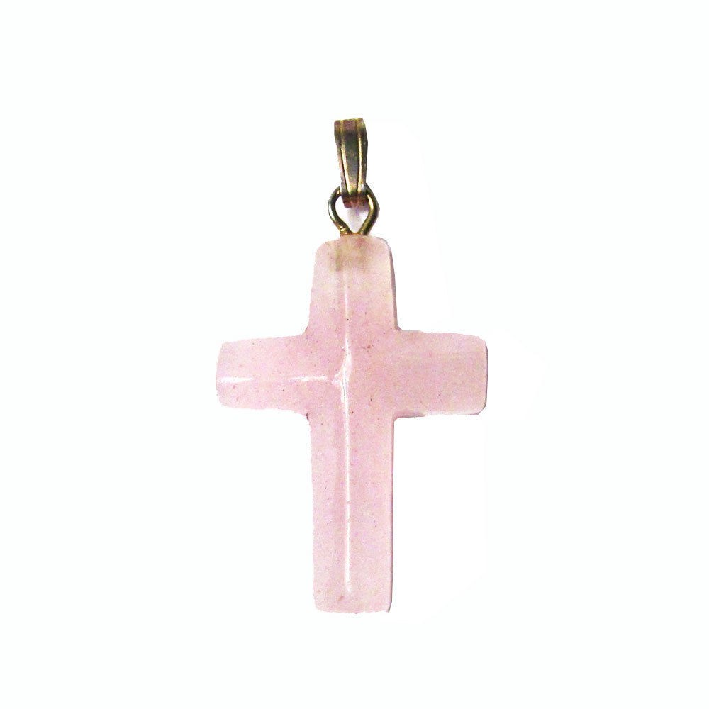 Pink Jade Cross Pendant Necklace