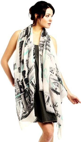 Traveling Italy Print Cotton Long Scarf