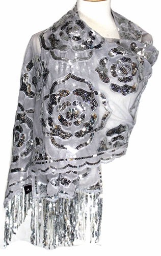 Luxurious Silver Sequins and Embroidery Fringe Scarf