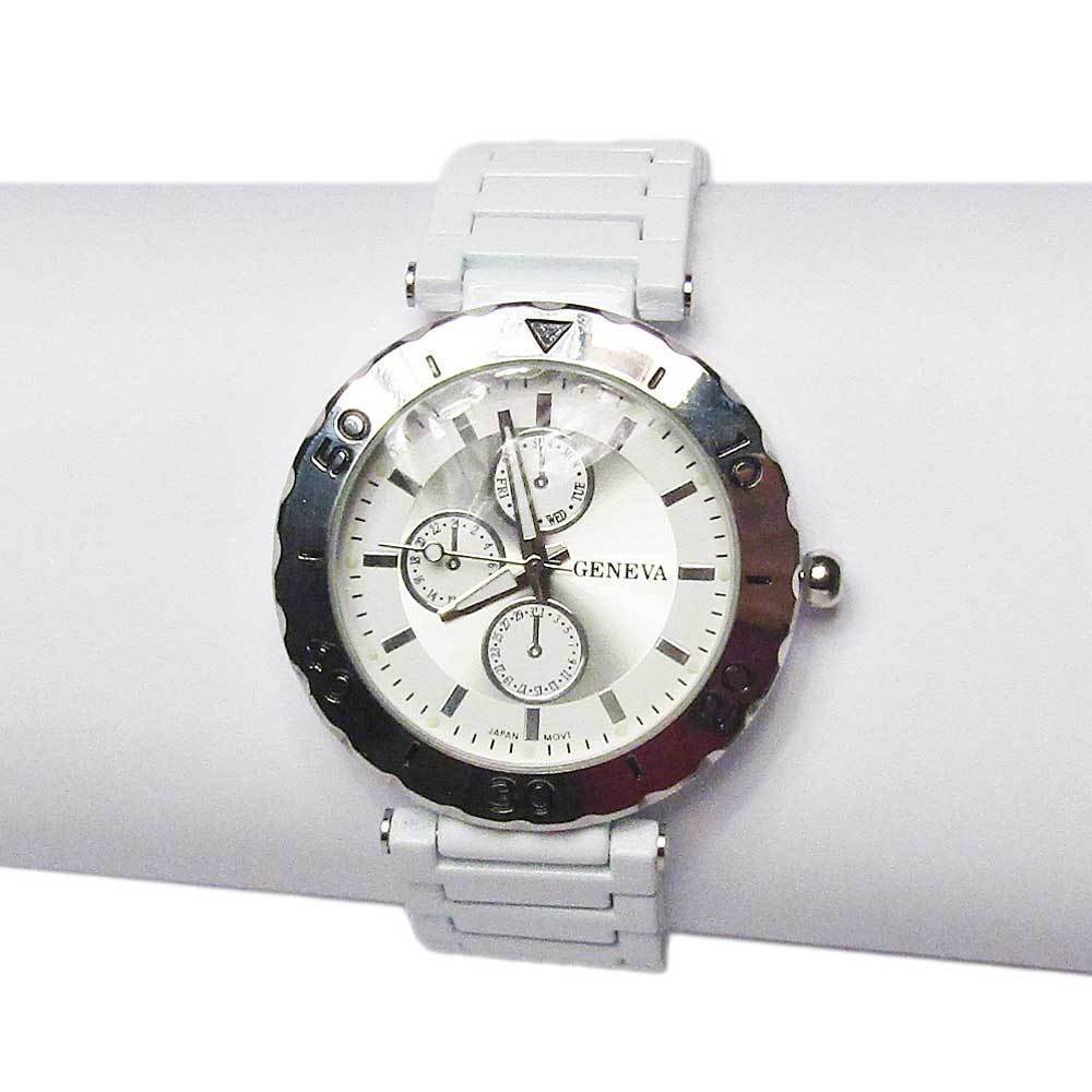 Jumbo Round Sporty Stainless White Band Watch