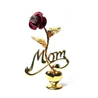 Precious Handcrafted 24k Gold-Plated Austrian Crystal Red Rose With Mom