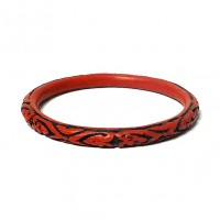 Bold Scroll Cinnabar Red Black Bangle Bracelet
