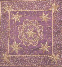 Handcrafted Purple Indian Zardozi Embroidery Silk Cushion Cover