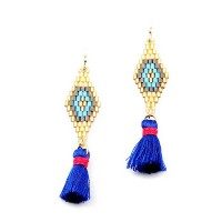 ROMANTIC SILVERY GRAY WEAVE BLUE TASSEL SHORT GOLD STATEMENT EARRINGS