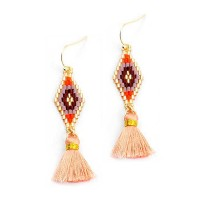 Romantic Orange Weave Peach Tassel Short Gold Statement Earrings