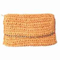 Chain Crochet Straw Clutch Handbag