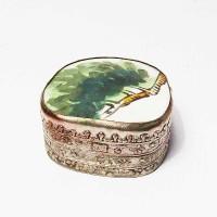 Tibetan Hand Painted Green Leaves Porcelain Silver Box
