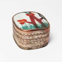 Tibetan Hand Painted Burgundy Floral Porcelain Silver Box
