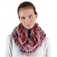 Gorgeous Burgundy Gray Furry Infinity Scarf