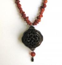 Corals Beads Longevity Bone  Pendant Necklace