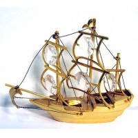 Precious Handcrafted 24K Gold-plated Austriaa Crystal Schooner Sail Boat