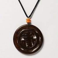 Round Longevity Jade Pendant Silk Cord Necklace